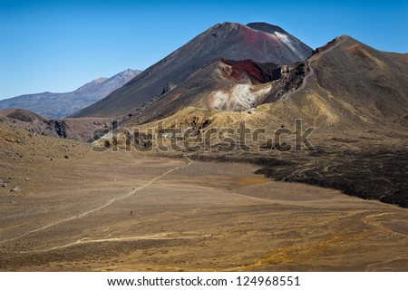 Mount Ngauruhoe at Tongariro Crossing, Tongariro National Park, New Zealand. Film Location as Mount Doom in Lord of the Rings Film - stock photo