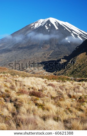 Mount Ngauruhoe in Tongariro national park, New Zealand - stock photo