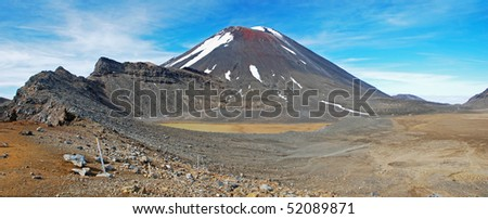 Mount Ngauruhoe in Tongariro NP, New Zealand - stock photo