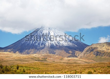 Mount Ngauruhoe, Tongariro national park, New Zealand - stock photo