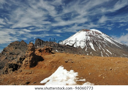 Mount Ngauruhoe - Tongariro National Park - New Zealand - stock photo