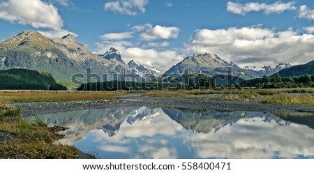 Mount Nicholas with its reflection in the lake, Otago Nee Zealand