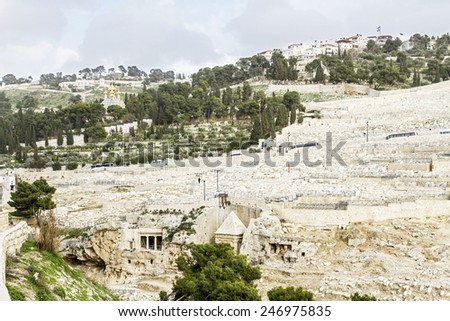 Mount of Olives in Jerusalem. Jewish cemetery, ancient tombs and church on the Mount of Olives. Israel. - stock photo