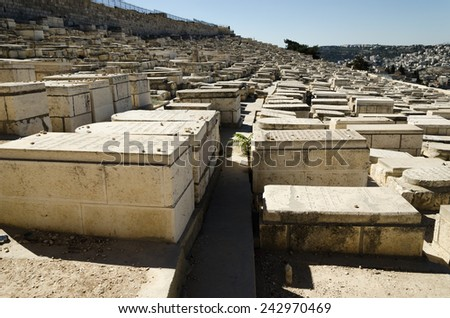 Mount of Olives, Jewish Cemetery in Jerusalem, Israel - stock photo