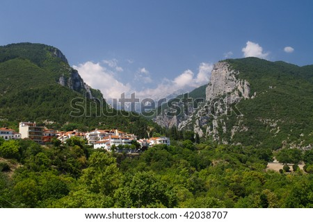 Mount Olympus in Greece. On the foreground - small town of Litohoro.