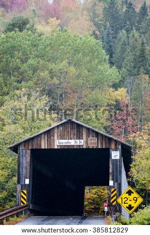 Mount Orne Bridge connects New Hampshire and Vermont - stock photo