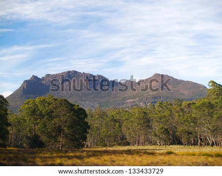 Mount Ossa in Cradle Mountain - Lake St Clair National Park - stock photo