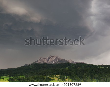 Mount Pilatus with strom clouds