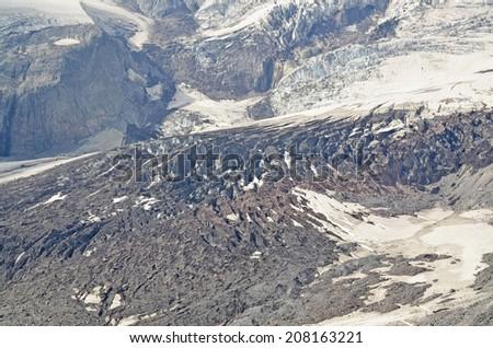 Mount Rainier and the Cascade Mountain range - stock photo