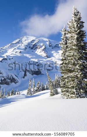 Mount Rainier as seen from the Paradise area in winter; Mount Rainier National Park, Washington State - stock photo
