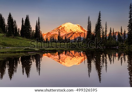 Mount Rainier reflection from Tipsoo Lake at Sunrise.