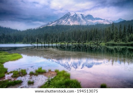 Mount Rainier Reflection Lake Landscape - stock photo