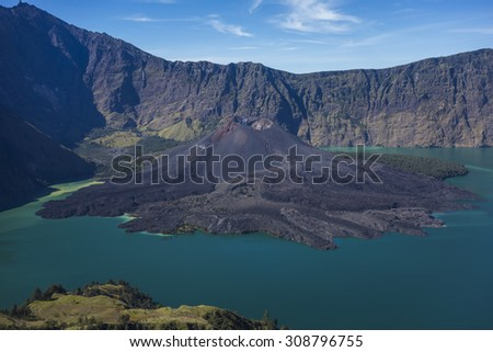 Mount Rinjani (3726m from sea level), Mount Barujari and Plawangan Sembalun in Lombok Island, Indonesia. - stock photo
