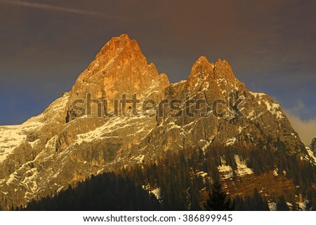 Mount Rosetta over the San Martino di Castroza at sunset, mountain group Pale di San Martino, Dolomites mountains - Italy, Europe, UNESCO World Heritage Site