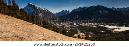 Mount Rundle and Banff Townsite, Banff National Park Alberta Canada - stock photo