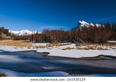 Mount Rundle and Vermilion Lakes in winter, Banff National Park Alberta Canada - stock photo