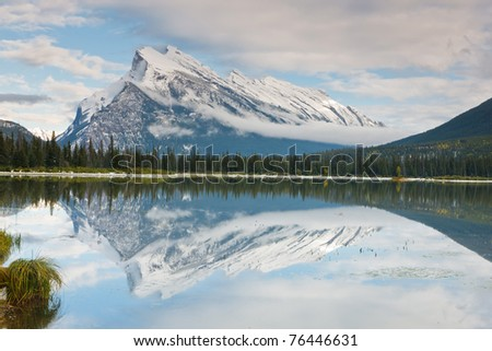 Mount Rundle and Vermillion Lake, Banff National Park, Alberta, Canada - stock photo