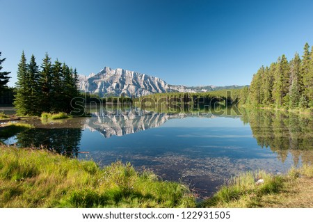 Mount Rundle from Cascade Ponds. Banff National Park, Canada - stock photo