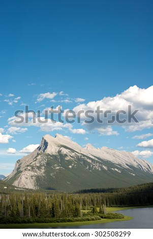 Mount Rundle, in Banff, Canada - stock photo