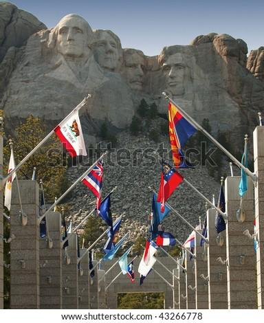 Mount Rushmore in the Black Hills of South Dakota. - stock photo