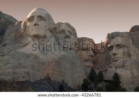 Mount Rushmore in the Black Hills of South Dakota. - stock photo