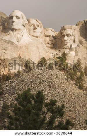 Mount Rushmore in the Black Hills of South Dakota (portrait format)