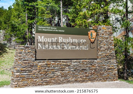 Mount Rushmore monument sign in South Dakota in the morning - stock photo
