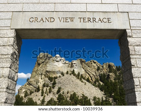 Mount Rushmore National Memorial as seen from Grand View Terrace archway. - stock photo