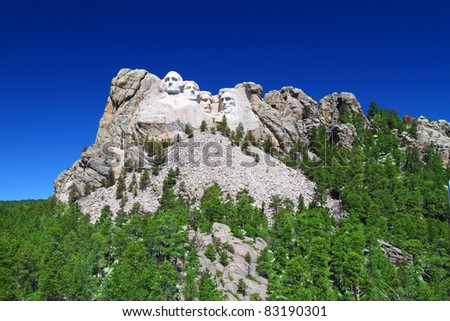 Mount Rushmore National Memorial carved into the peaks of the Black Hills in South Dakota - stock photo