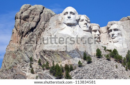 Mount Rushmore National Memorial in South Dakota - stock photo