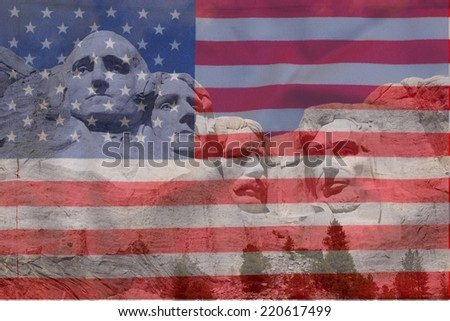 Mount Rushmore National Memorial in South Dakota features sculptures of former U.S. presidents George Washington, Thomas Jefferson, Theodore Roosevelt and Abraham Lincoln with American flag  - stock photo