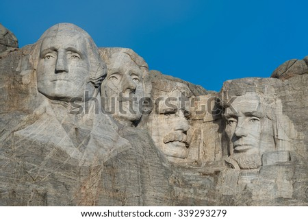 Mount Rushmore National Memorial near Keystone, South Dakota - stock photo