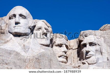 Mount Rushmore National Monument in South Dakota. Summer day with clear skies. - stock photo