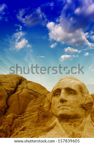 Mount Rushmore National Monument in South Dakota. Summer sunset with colourful sky. - stock photo