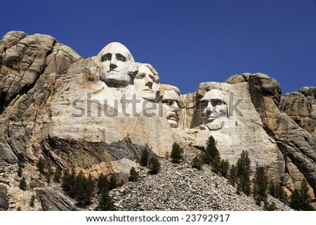 Mount Rushmore National Monument in the Black Hills of South Dakota. - stock photo