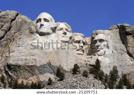 Mount Rushmore National Monument showing George Washington, Thomas Jefferson, Teddy Roosevelt and Abraham Lincoln (l-r). - stock photo