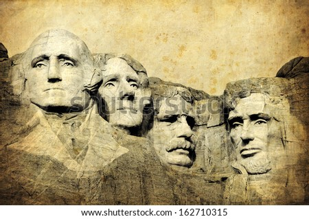 Mount Rushmore National Monument, South Dakota, United States, grunge version of my photo - stock photo