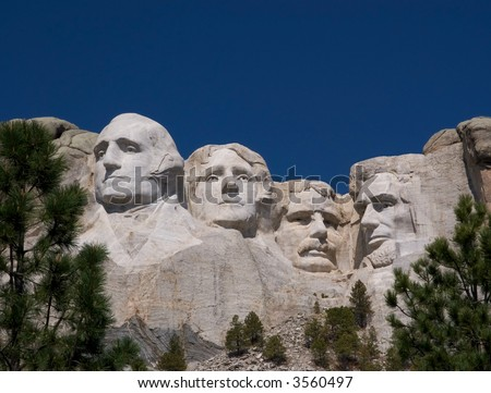 Mount Rushmore on a Cloudless Day - stock photo