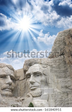 Mount Rushmore - Roosevelt and Lincoln sculpture. - stock photo