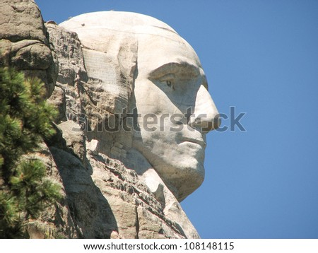 Mount Rushmore side view on a Clear Summer Day - South Dakota - stock photo