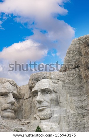 Mount Rushmore - Theodore Roosevelt and Abraham Lincoln sculpture. - stock photo