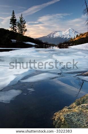 Mount Shasta & Heart Lake - stock photo
