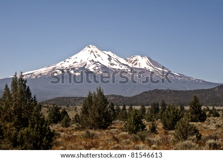 Mount Shasta in Northern California - stock photo