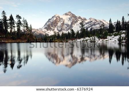 Mount Shuksan after Sunset - stock photo