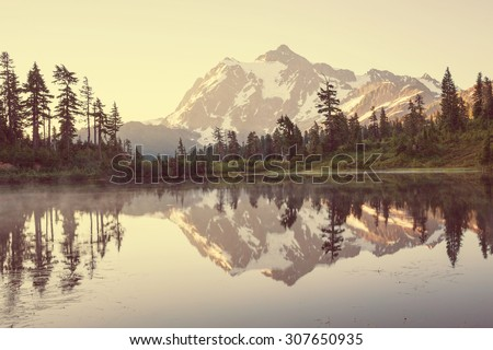 Mount Shuksan and Picture lake ,Washington - stock photo