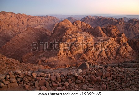 Mount Sinai in early morning - also known as Jebel Musa (2285 m) on Sinai Peninsula, Egypt - stock photo