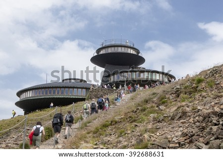 MOUNT SNIEZKA, POLAND - JUNI 15, 2015: Sniezka is a mountain on the border between the Czech Republic and Poland, the most prominent point of the Silesian Ridge. At 1,603 metres - stock photo