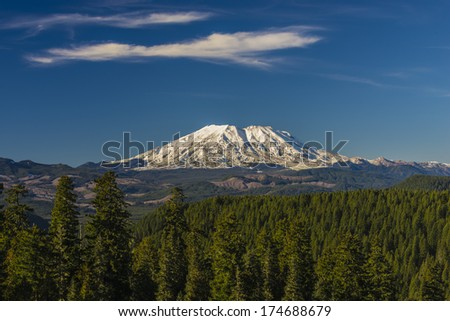 Mount St. Helens on a clear day against clear blue sky - stock photo