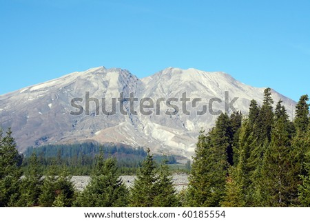 Mount St. Helens on a clear day, view of the south-east side - stock photo