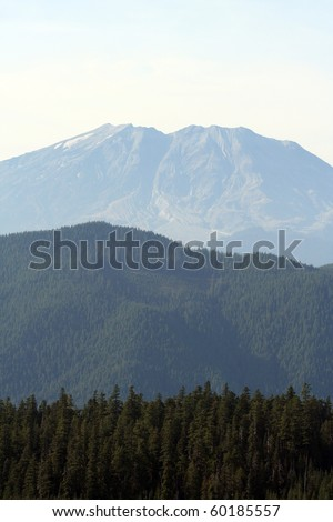 Mount St. Helens on a hazy day, viewed from the south-east - stock photo